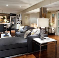 Candice Tells All | W Network Bright basement: love wet bar & poll wrapped in wood