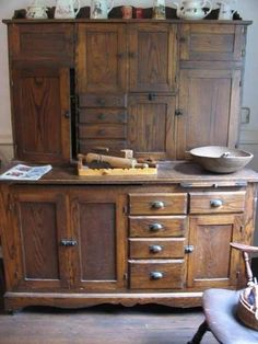 Amazing Hoosier cabinet. Love all this storage! Utilitarian can be lovely as well as useful!