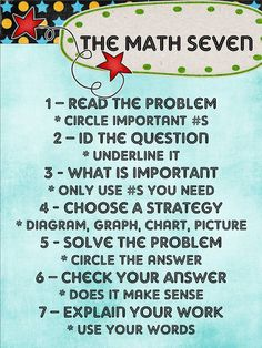 The Math Seven--with explanations math poster, middle school, school help, kid
