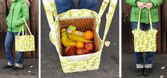 Boxed Grocery Bag tutorial by A Squared W #sew #diy