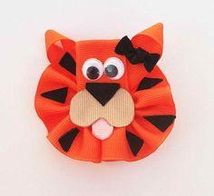 Tiger Ribbon Sculpture Hair Clip - Toddler Hair Bows - Zoo Animal Hair Clips... Free Shipping Promo