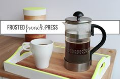 custom frosted glass french press- use a dremel to etch the design instead craftdiy thing, french press, glasses, tray paint, frost glass, frosted glass, coffee, glass french, custom frost