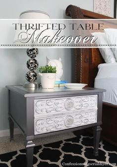 Thrifted side table gets a glam makeover