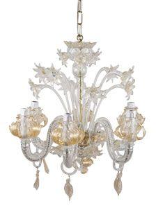 murano 6-light chandelier - crystal/gold  abc carpet