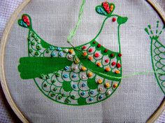 3 French Hens. French knots on a French hen embroidery. By knitalatte11 Margaret Oomen #embroidery