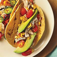Shredded Chicken Tacos with Tomatoes and Grilled Corn | CookingLight.com