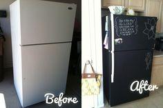 awesom kitchen, remodel diy, chalkboard refrigerator, diy crafts, fridg