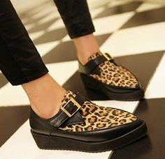 Women Leopard Punk Goth Point Toe Buckle Strap High Platform Wedge Creeper Shoes