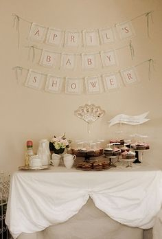 shabby chic vintage baby shower DIY personalized banner made from doilies