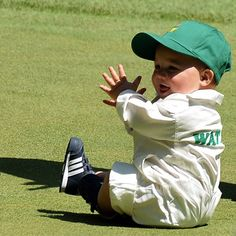 Bubba Watson's son, Caleb, during the Masters Par 3 Contest via Golf Digest Magazine