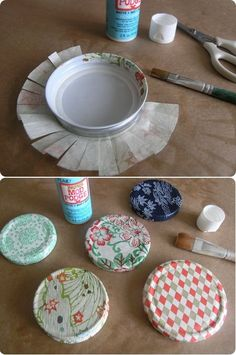 Cover jar lids using tissue paper and mod podge. Now I can use those recycled jars and hide the printing on the lid! crafty