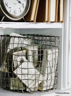 inspiration for distressing of a DIY hardware clothe wire basket