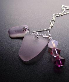 Lavender sea glass cluster
