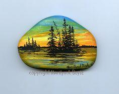HAND PAINTED STONE Lake Superior rock scene by OriginalSandMore, $28.00
