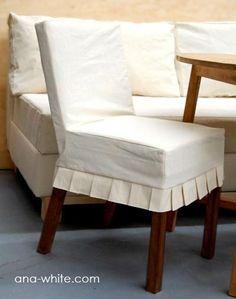Drop cloth parsons chair slipcovers DIY