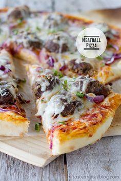 Meatball Pizza   www.tasteandtellblog.com