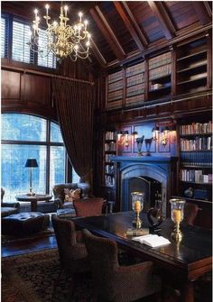 Two-story paneled library