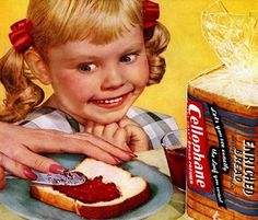 """Bread is swell, but what I'm really excited about is eating jelly made from the blood of the innocent!""  #creepy #vintage #ad"
