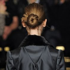 High-fashion hairstyle: crimped chignons at Zac Posen