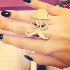 moustach, ring, nail, teen fashion, style