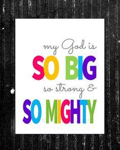 My God is So Big // Pink // INSTANT DOWNLOAD // Nursery & Kid's Wall Art