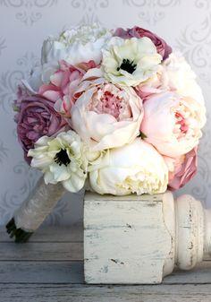 Silk Bride Bouquet Peony Flowers Pink Cream Purple Shabby Chic Wedding Decor. $99.00, via Etsy.