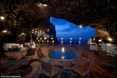 Restaurant in Southern Italy, which was built inside a cave centuries ago.