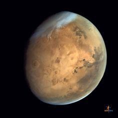 Olympus Mons, Tharsis Bulge and Valles Marineris from ISRO's Mars Orbiter Mission. Credit: ISRO