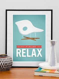 """Retro Art, Eames poster, Retro office poster, Mid century modern, Motivational poster print """"dont forget to relax"""" A3. $20.00, via Etsy."""