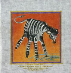 Sophisticated Handprint Art:  Annie's Current Paintings: Children's Hand Print Zoo Animals for Needlepoint