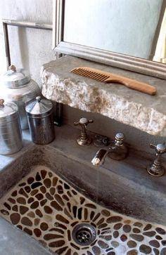 Mosaic pebble stone bathroom sink & rough stone built in shelf