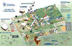 Mapa de campus Tecnologico de Monterrey