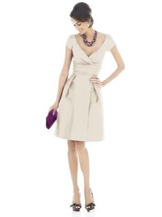 Higher Neckline, Slightly longer sleeves. Alfred Sung Champagne Bridesmaid Dress
