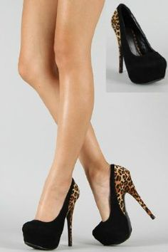Black Suede 2tone Leopard Stiletto Hidden Platform High Heeled Court Shoes Pumps