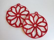 Pristine Condition Vintage 1930s Red & White Crochet Potholders Set