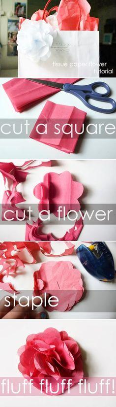 Easy DIY Crafts: Tissue paper flower.