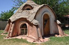 Earthbag home with sod roof.