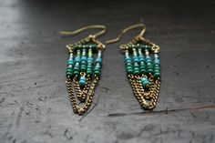 Turquoise seed bead and gold chain earrings I made for myself (until I decide to sell them)
