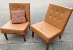 Vintage Retro 1960s Brown Leatherette Lounge Chairs by Everest Furniture