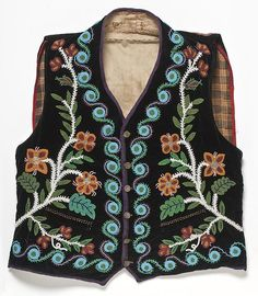 Ojibwe vest, 1885 Velvet, cloth, ribbon, glass beads, brass buttons. Gift of Miss Donna Held. Southwest Museum of the American Indian Collection, Autry National Center; 1911.G.1