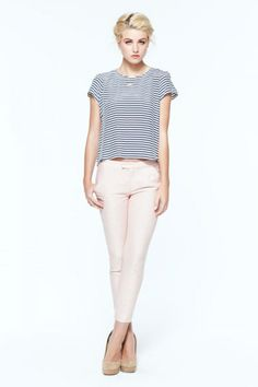 striped top and cropped pants for spring