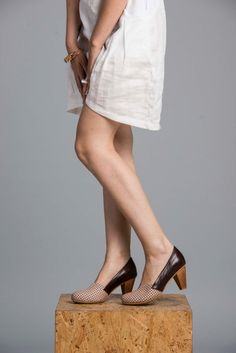 Grey And Nude Leather Shoes / Women Shoes / by EllenRubenBagsShoes