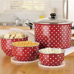 red/white polka-dot kitchen ware
