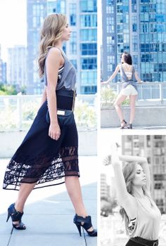 Luisa Tank in Smoke, Rose Bra in Nude/Black, and Sarah Skirt in Black. Olivia Cover Up in Smoke, Kelly Bandeau in White, and Zimmer Short in Heather Slate/Nude. #karmawear #clothingformovement #style #yogafashion   See more: http://www.karmawear.com/pages/veiled-duality