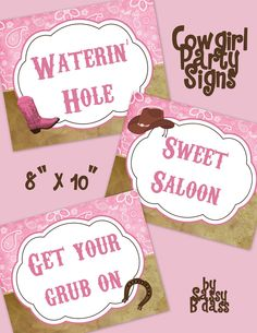 The Wildflower Collection - Set of 3 Birthday Party Signs - Country Girl - Cowgirl - Customize with Your Wording. $5.00, via Etsy.