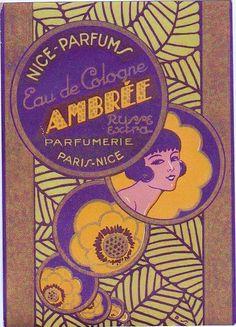 art deco perfume label