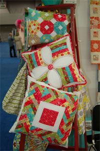 Marshmallow Pies by Abbey Lane Quilts at KayeWood.com is a collection of three Designer pillows.  Each pillow is made from a very traditional quilt block or technique put together for the modern house. http://www.kayewood.com/item/Marshmallow_Pies_Set_of_3_Pillow_Patterns/2886 $10.00