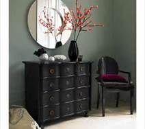 Circle Mirror, dark furniture, branchy flowers