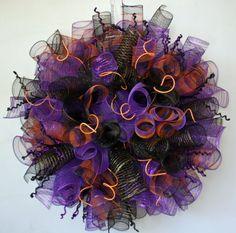 halloween wreaths   Halloween Wreath, Custom Curled Deco Poly Mesh 32 Inch Halloween ...