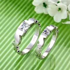 Swiss diamond anti fade sterling silver cheap couple rings - $43